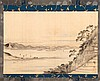 SCROLL PAINTING ON SILK Attributed to Hiroshige. Depicting figures overlooking the inland sea. Signed