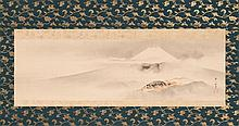 SCROLL PAINTING ON PAPER By Hanabusa Itcho. Depicting Mount Fuji. Signed and seal marked. 10.25