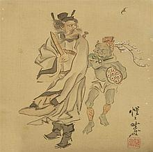 MOUNTED PAINTING ON SILK By Kyosai. Depicting Shoki and an oni. Signed and seal marked. 7.5