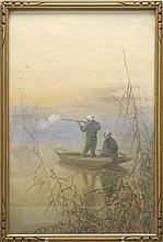 PAINTING ON PAPER By Eizo Kato. Two duck hunters in a boat among marsh grasses. Signed lower right