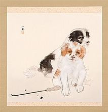 SCROLL PAINTING ON PAPER By Seiho. Depicting two puppies. Signed and seal marked. 19