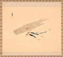 SCROLL PAINTING ON SILK By Seiho. Depicting fish. Signed and seal marked. 15.75