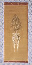 SCROLL PAINTING ON PAPER Depicting a deer caparisoned with a saddle and a banner-draped tree. Unsigned. 36.5