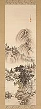 SCROLL PAINTING ON SILK By Nakabayashi Chikudo (1776-1853). Depicting a figure in a mountain landscape. Signed and marked with two s...