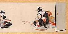 SHUNGA HAND SCROLL ON SILK With twelve intimate scenes. 9'5