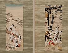 PAIR OF SUBTLE SHUNGA SCROLL PAINTINGS Depicting a samurai caressing a young woman and a young man and young woman exchanging love n...