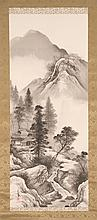 SET OF FOUR SCROLL PAINTINGS ON SILK Each depicting mountain landscapes with figures and cottages. Signed and seal marked. 39.25