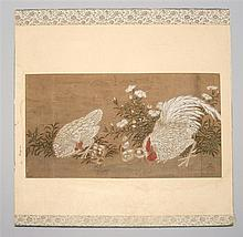 MOUNTED PAINTING ON PAPER Depicting rooster and hen with chicks. Marked with Tea Jar seal. 9.75