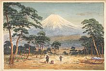 TASUKE YOKOUCHI Two fishermen with Mount Fuji in the distance. Signed lower left