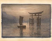 B. YAJIMA Junk nearing Itsukushima Shrine at dusk. Signed lower right