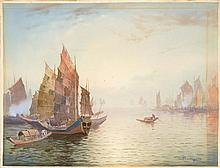 WATERCOLOR PAINTING ON PAPER By Fukutaro Terauchi (1891-1964). Junks in the harbor. Signed lower right