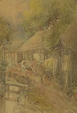 WATERCOLOR IN WESTERN STYLE Depicting figures on a street outside the inn at Hodogaya. Signed illegibly lower right. 22.5