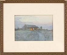 HIROSHI YOSHIDA Japanese cabin under a crescent moon. Signed lower left