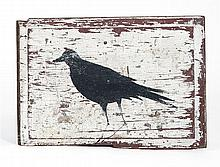 PAINTED WOODEN SIGN FROM CAPE COD In white paint over red paint. One side with a black crow.