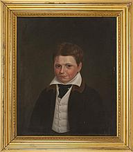 AMERICAN SCHOOL, Circa 1830, Portrait of Thomas Tower (1813-1887) as a boy., Oil on canvas, 27