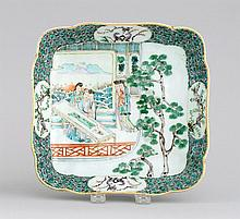 FAMILLE VERTE PORCELAIN SERVING DISH In square form with decoration of ladies on a balcony. 8.7