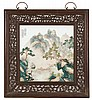 FAMILLE VERTE PORCELAIN TILE PAINTING Depicting a sage in a mountain landscape with calligraphy and seal mark. 15.5