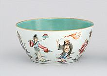 POLYCHROME PORCELAIN BOWL With decoration of eight mythological figures. Six-character Jiaqing mark on base. Diameter 6.5