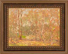 LAWRENCE MAZZANOVICH, American, 1872-1959, Forest interior., Oil on board, 12