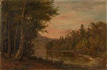 GEORGE FRANK HIGGINS, American, 1850-, Dusk scene of a lake and canoe., Oil on canvas, 24