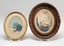 TWO FRAMED OVAL PORTRAITS OF CHILDREN Both unsigned. 7