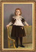 JAMES WELLS CHAMPNEY, American, 1843-1903, Portrait of a child standing on a settee., Pastel on paper, 48