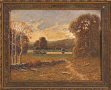 HIRAM PEABODY FLAGG, American, 1859-1939, Autumn landscape with haystacks., Oil on canvas board, 8
