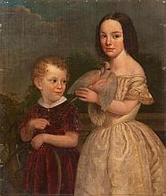 UNFRAMED PORTRAIT Two children with a hoop and a dove. Purported to be Albert and Serena Bage. Unsigned. Oil on canvas mounted on bo...