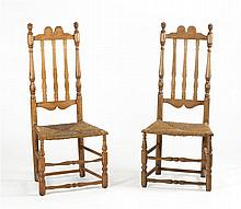 MATCHED PAIR OF ANTIQUE AMERICAN BANISTER-BACK SIDE CHAIRS In ash and maple under a washed finish. Double crested back and rush seats.