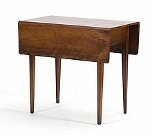 ANTIQUE AMERICAN HEPPLEWHITE DROP-LEAF TABLE In cherry with delicate tapered legs. Height 27.25