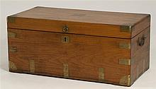 BRASS-BOUND CAMPHORWOOD CHEST Brass bail handles at sides. Height 16