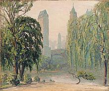 JOHANN BERTHELSEN, American, 1883-1972, Central Park, New York, looking toward Fifth Avenue., Oil on canvas, 25