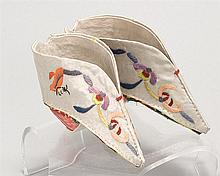 WHITE SILK LOTUS SHOES With silk embroidered orange butterfly and lavender and coral flowers. Pink brocade heel cover. White hopsack...