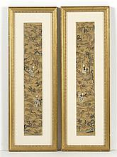 PAIR OF SILK NEEDLEWORK SLEEVE BANDS With Forbidden Stitchwork depicting figures on a gold ground. Framed. Mat openings 20.5