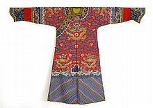 RED KESI ROBE Nine five-claw dragon design with Buddhistic symbols, clouds, and bats above a rolling sea.