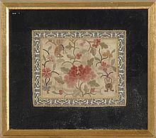 SILK EMBROIDERED PANEL Executed in Forbidden Stitchwork, depicting a bird and peony. 6