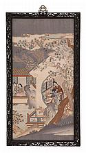 FINE KESI PANEL Depicting ladies arranging flowers and seated on a balcony. Some gold threadwork. 30.5