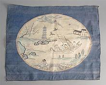 KESI PANEL Depicting figures in a river landscape with blue border. 18