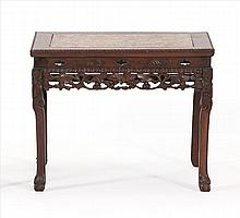 ROUGE MARBLE-TOP STAND In rectangular form with pierced grape and grapevine apron. Floral-carved legs with claw & ball feet. Height...