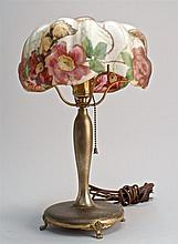 20TH CENTURY PAIRPOINT TABLE LAMP with flower and butterfly-decorated puffy shade. Base and shade signed