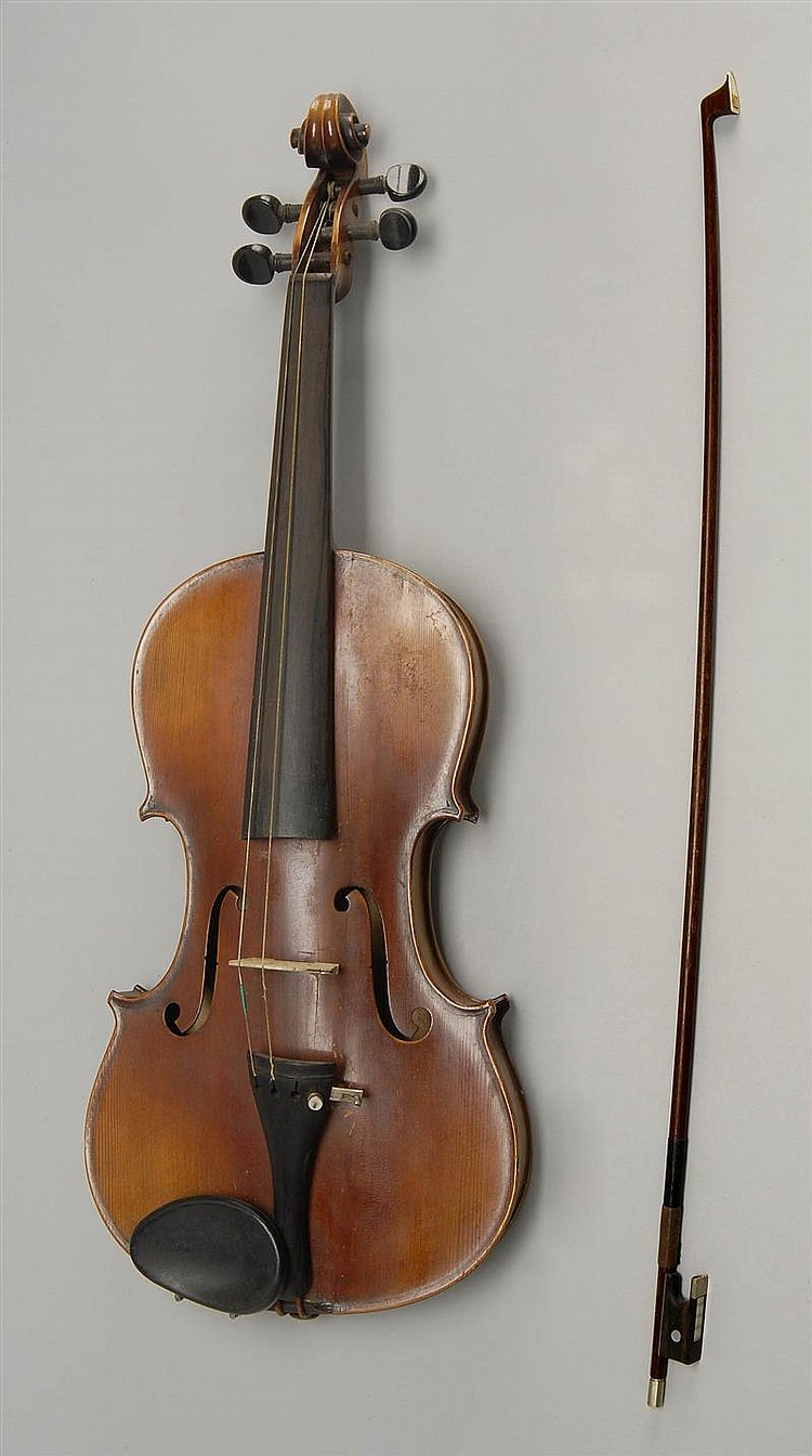 GERMAN STRADIVARIUS COPY VIOLIN with German bow and hardshell case.