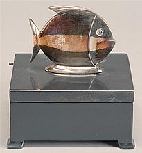SILVER METAL LIFT-TOP BOX by Jennings Brothers of Bridgeport, Conn. With sunfish-form finial. Height 3½