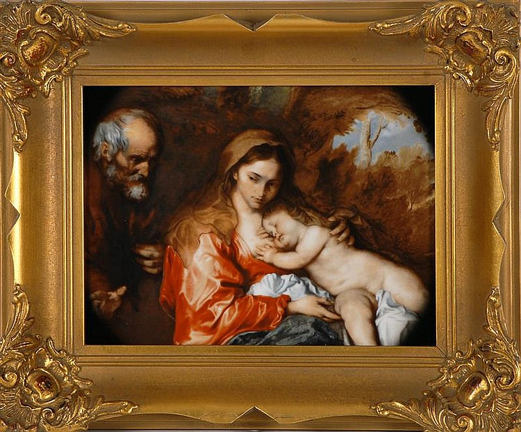 20TH CENTURY HAND-PAINTED GERMAN PORCELAIN PLAQUE with classical depiction of Madonna and Child. Marked