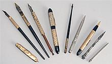 LOT OF LATE 19TH/EARLY 20TH CENTURY FOUNTAIN PENS & MECHANICAL PENCILS. Mostly gold or silver plated. By various makers including pe...