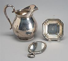 THREE STERLING SILVER ITEMS: water pitcher, height 9