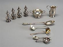 ELEVEN STERLING SILVER ITEMS: sugar & creamer, two pairs of salt & pepper shakers, tea strainer, stuffing spoon, two sauce ladles, a...