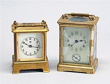 TWO BRASS CARRIAGE CLOCKS: one mid-19th Century French, height 4¼