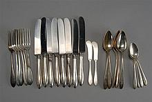 TWENTY-FIVE PIECES OF STERLING SILVER FLATWARE by Reed & Barton and Gorham Mfg. Co. in a similar pattern. Monogrammed. Includes eigh...