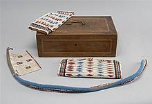 INLAID WOOD BOX CONTAINING BEADWORK ITEMS: two in rectangular form made of repeated cylinders and one possible necklace.