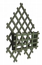 LATTICEWORK LETTER HOLDER in diamond and square design. In green paint. Length 30½